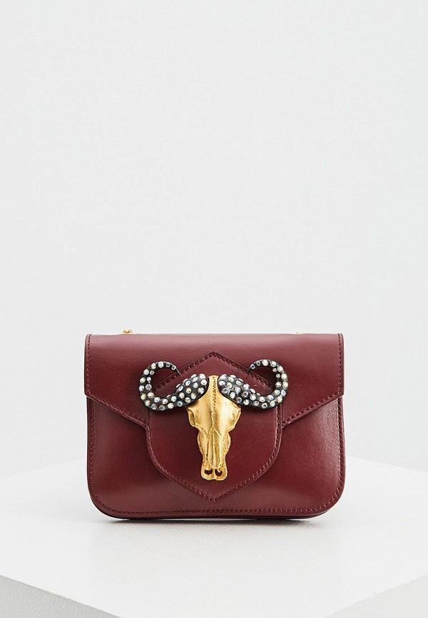 женская сумка через плечо just cavalli, бордовая