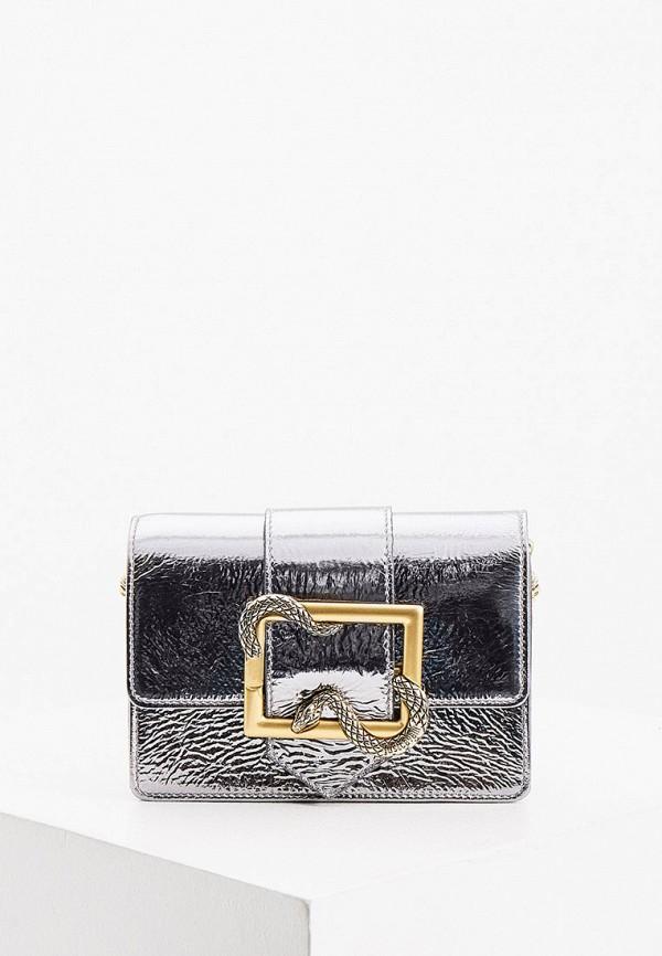 женская поясные сумка just cavalli, серебряная