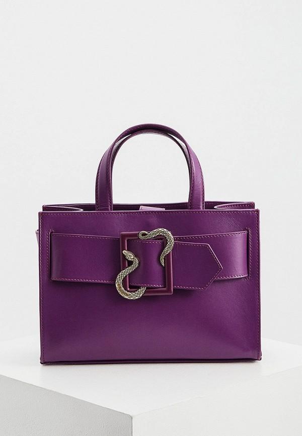 женская сумка с ручками just cavalli, фиолетовая