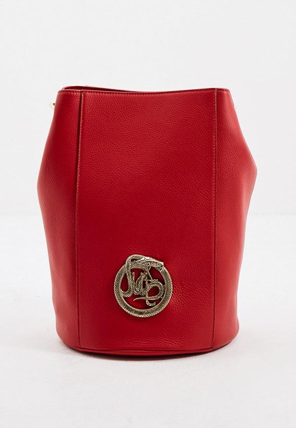 женская сумка-ведро just cavalli, красная