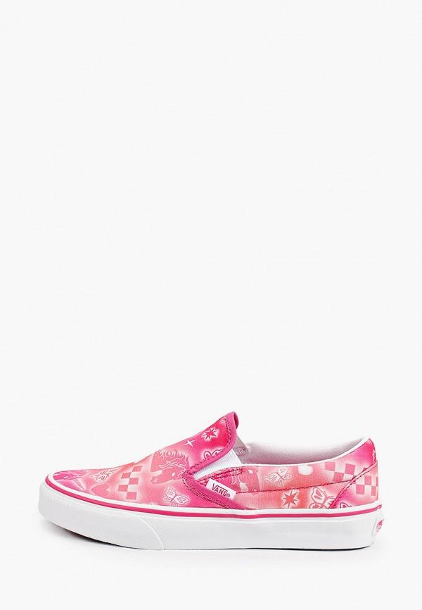 женские низкие слипоны vans, розовые