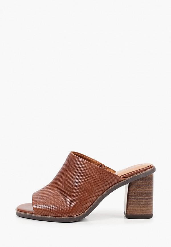 женское сабо tamaris, коричневое