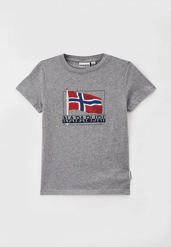футболка с коротким рукавом napapijri для мальчика, серая