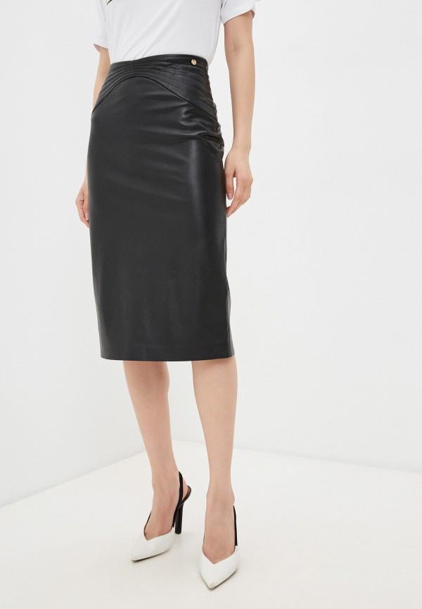 женская кожаные юбка liu jo, черная