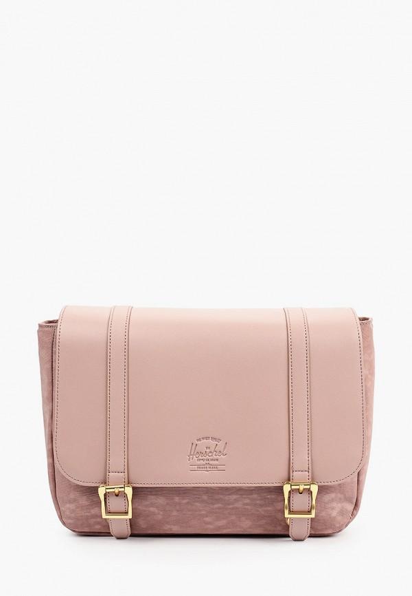 женская сумка через плечо herschel supply co, розовая