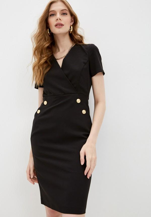 женское платье с запахом pinko, черное