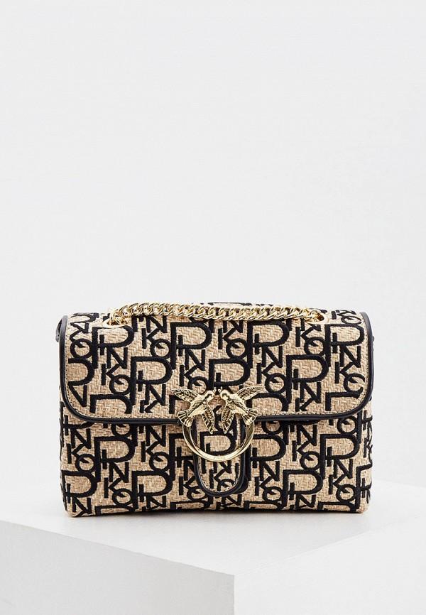 женская сумка через плечо pinko, золотая