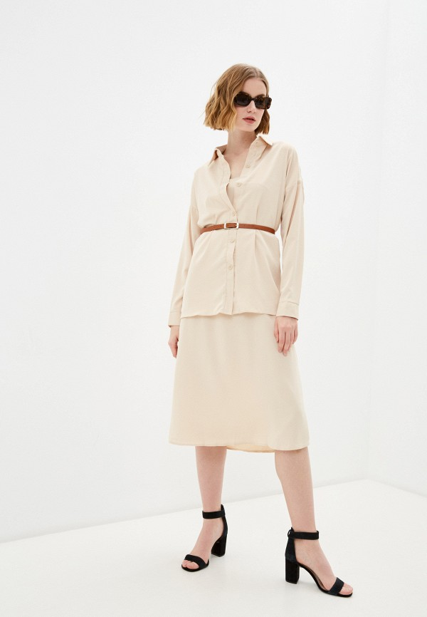 женская блузка-комбинация rene santi, бежевая