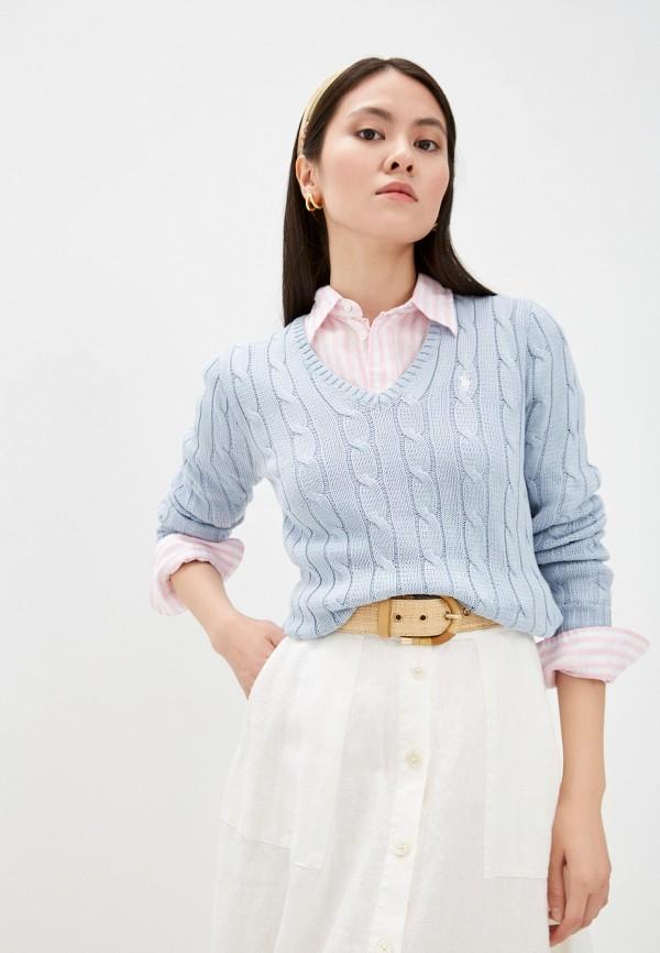 женский пуловер polo ralph lauren, голубой