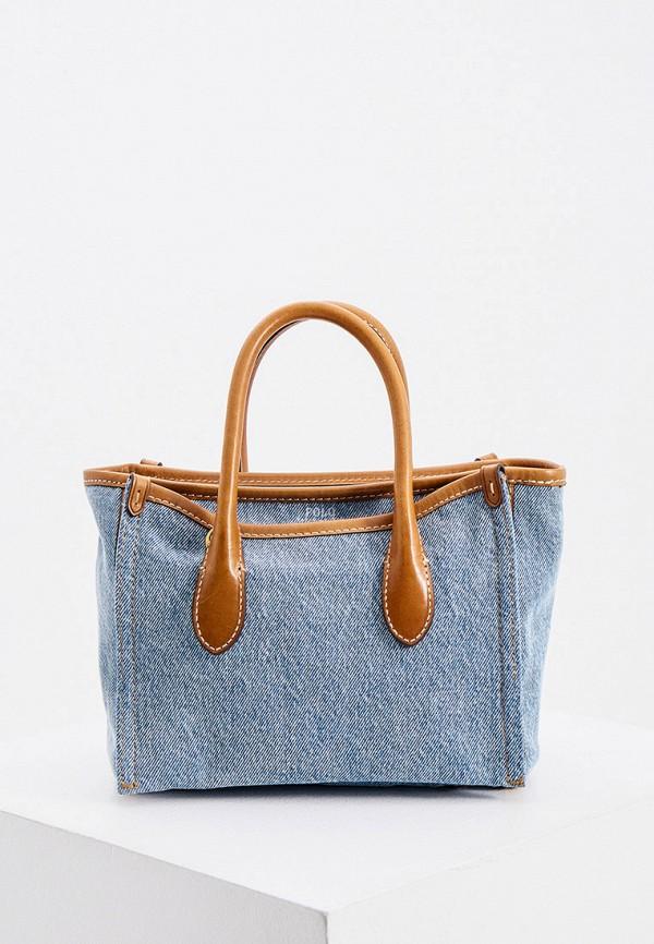 женская сумка с ручками polo ralph lauren, голубая