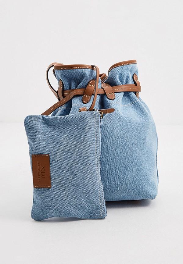 женская сумка через плечо polo ralph lauren, голубая