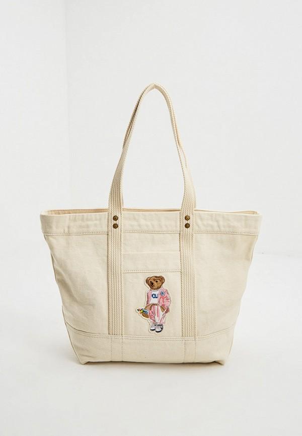 женская сумка с ручками polo ralph lauren, бежевая