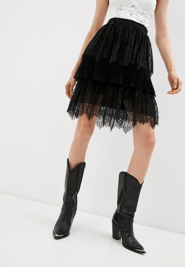 женская юбка-трапеции ermanno ermanno scervino, черная