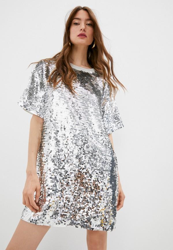 женское вечерние платье love moschino, серебряное
