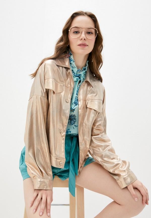 женская кожаные куртка imperial, золотая