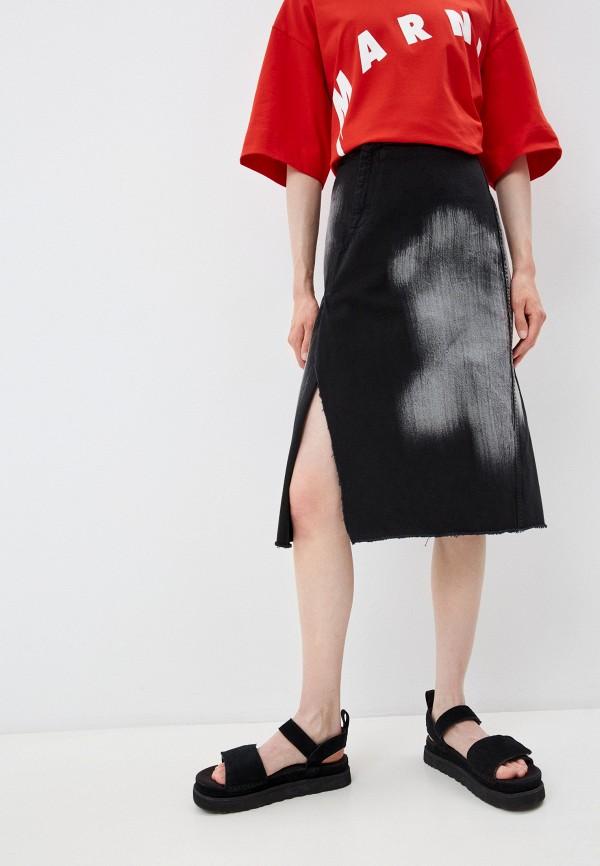 женская джинсовые юбка marni, черная