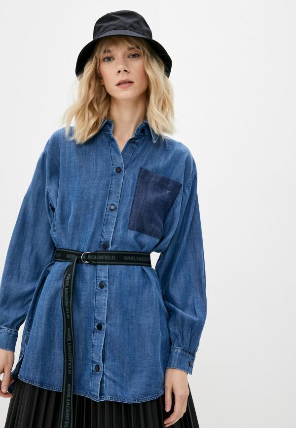 женская джинсовые рубашка karl lagerfeld denim, синяя
