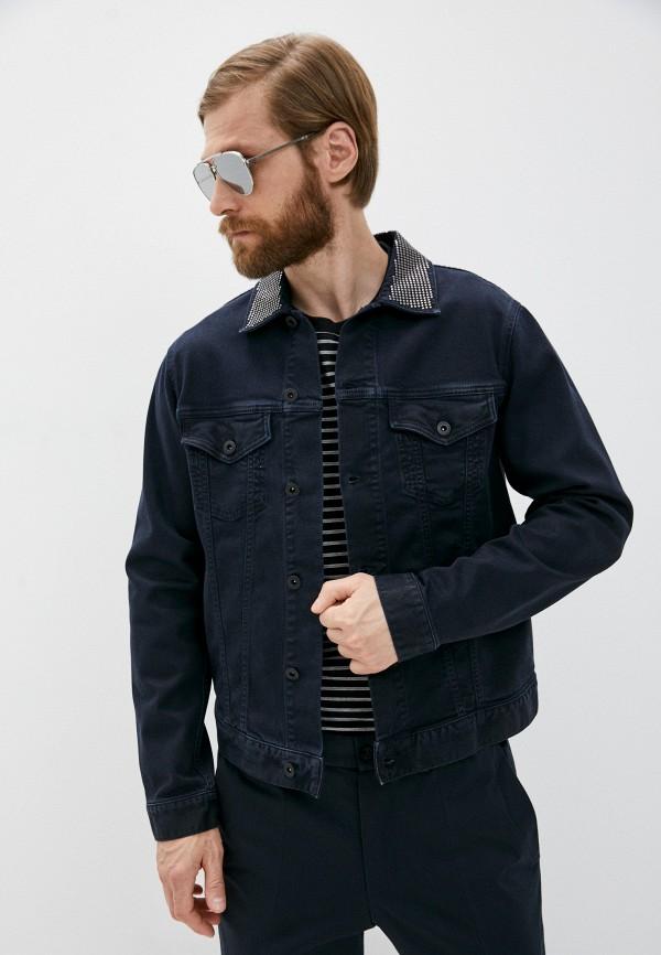 мужская джинсовые куртка emporio armani, синяя