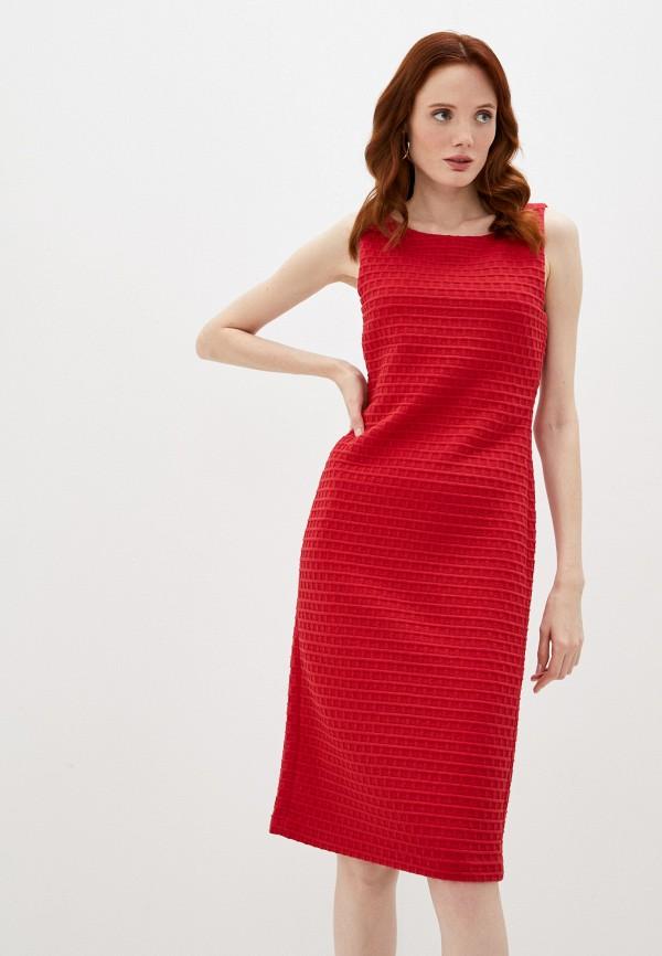 женское платье-футляр emporio armani, красное