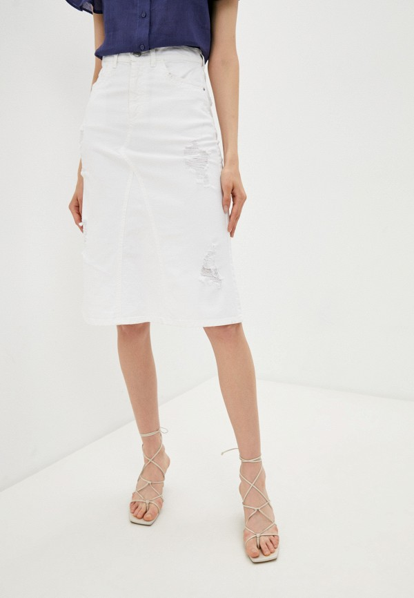 женская джинсовые юбка emporio armani, белая