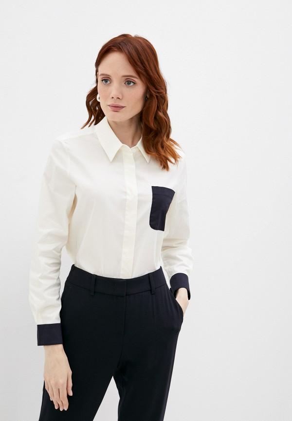 женская рубашка с длинным рукавом emporio armani, бежевая