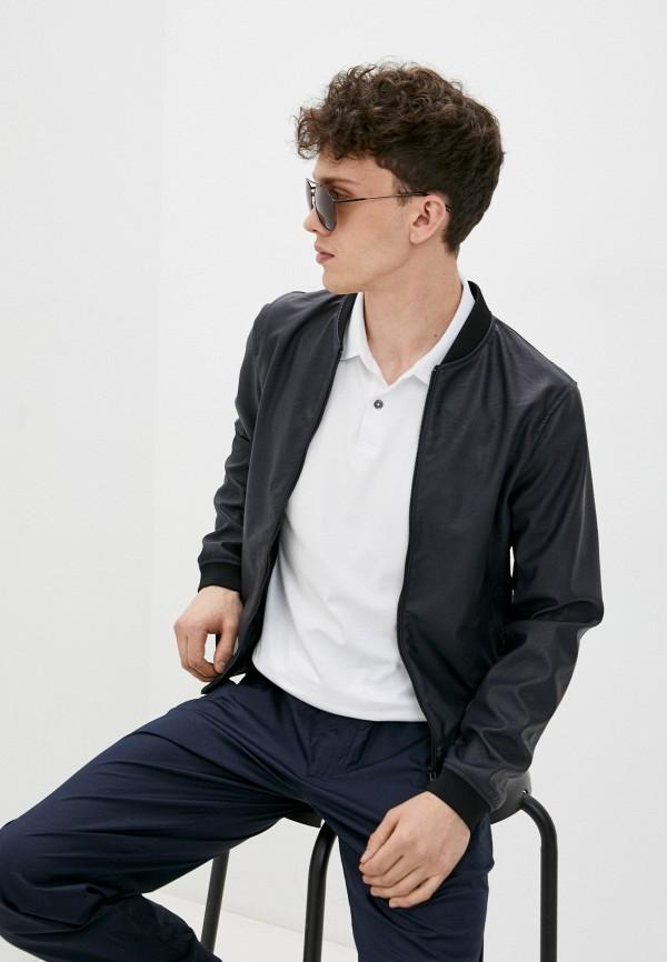 мужская кожаные куртка armani jeans, синяя