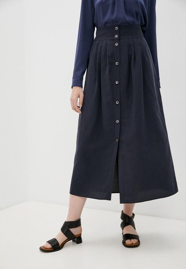 женская юбка-трапеции emporio armani, синяя