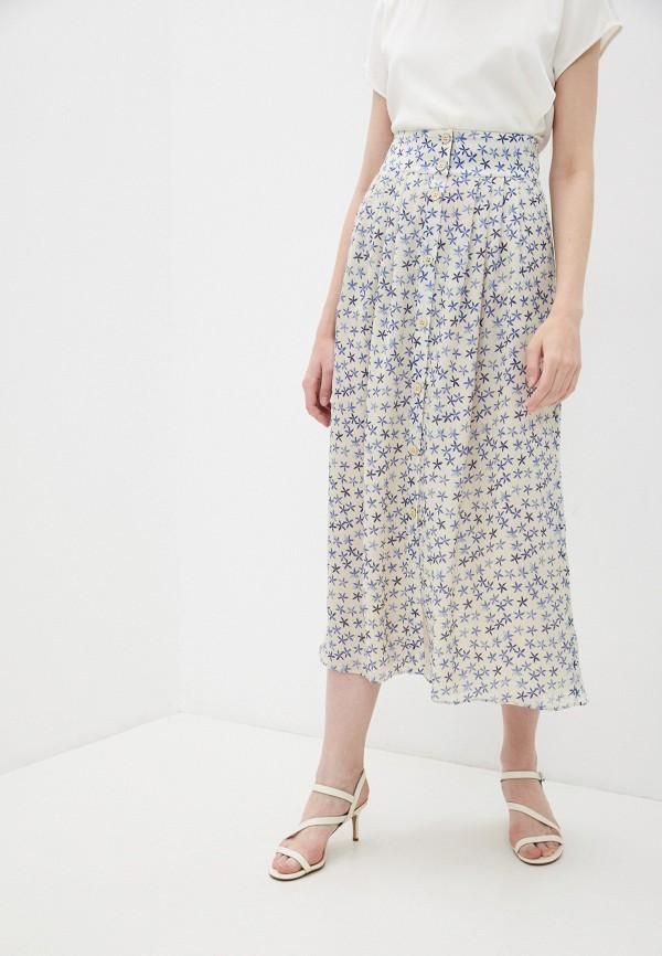 женская юбка-трапеции emporio armani, бежевая