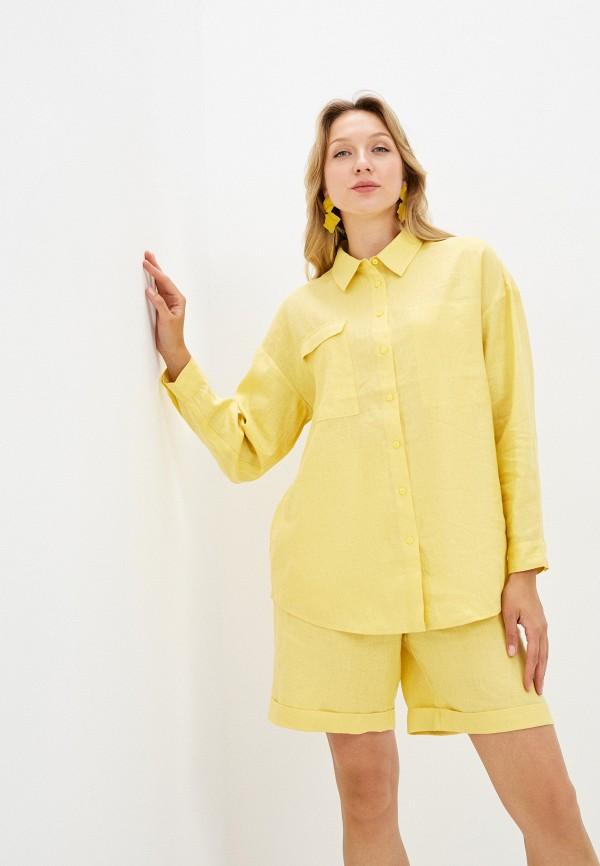 женская рубашка с длинным рукавом unq, желтая