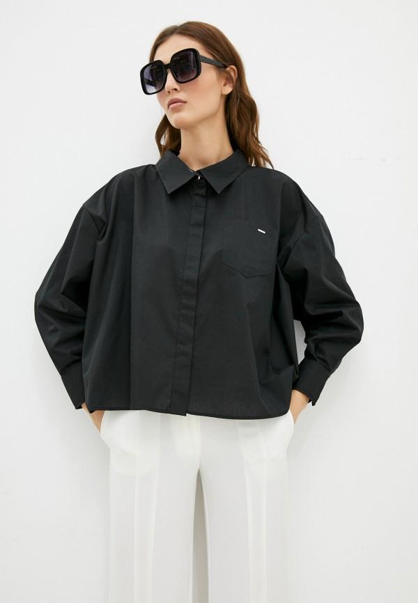 женская рубашка с длинным рукавом silvian heach, черная