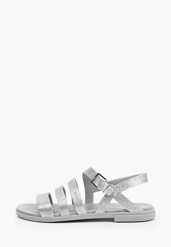 женские сандалии crocs, серебряные