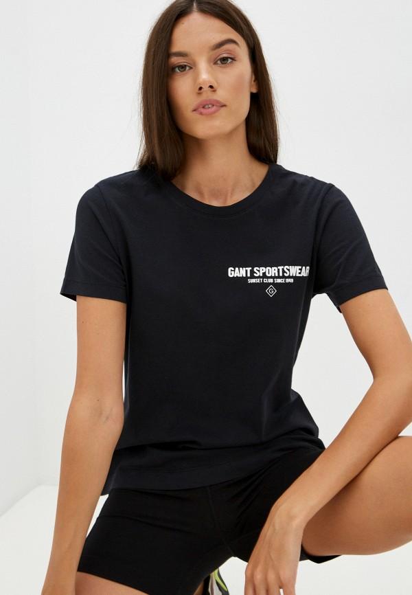 женская футболка gant, черная