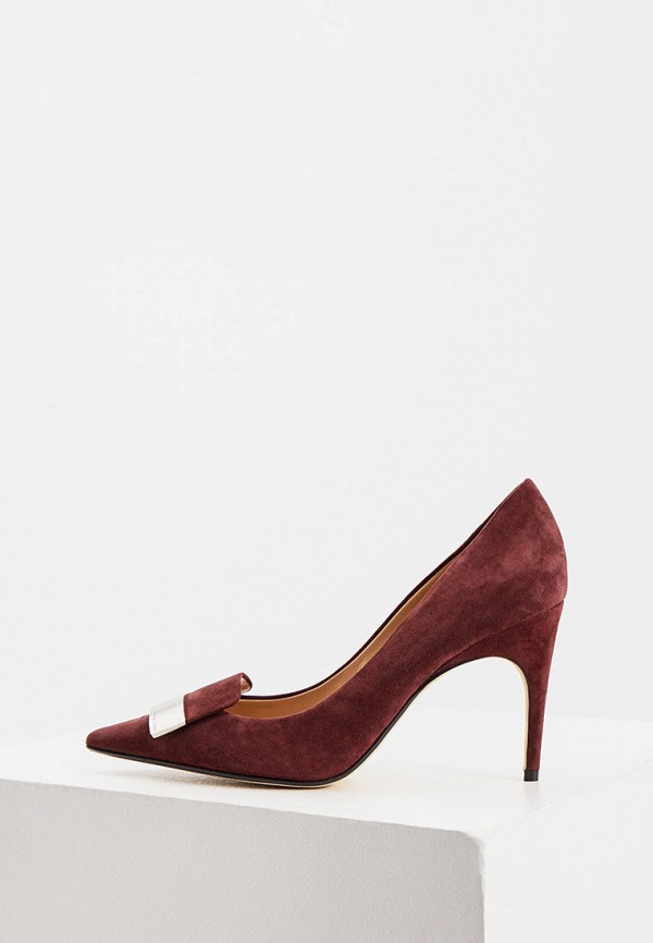 женские туфли-лодочки sergio rossi, бордовые