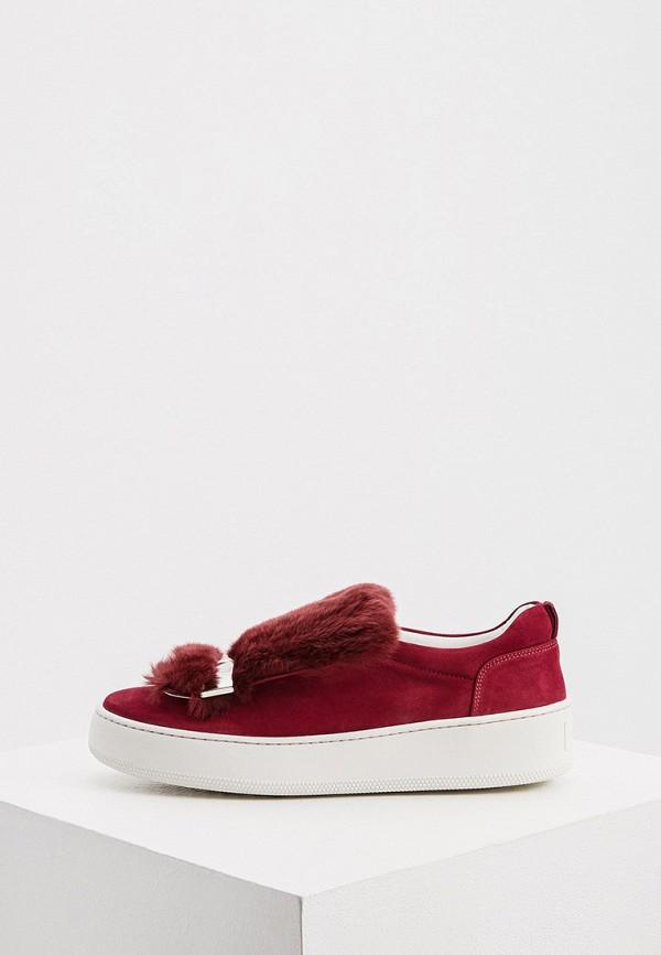 женские низкие слипоны sergio rossi, бордовые