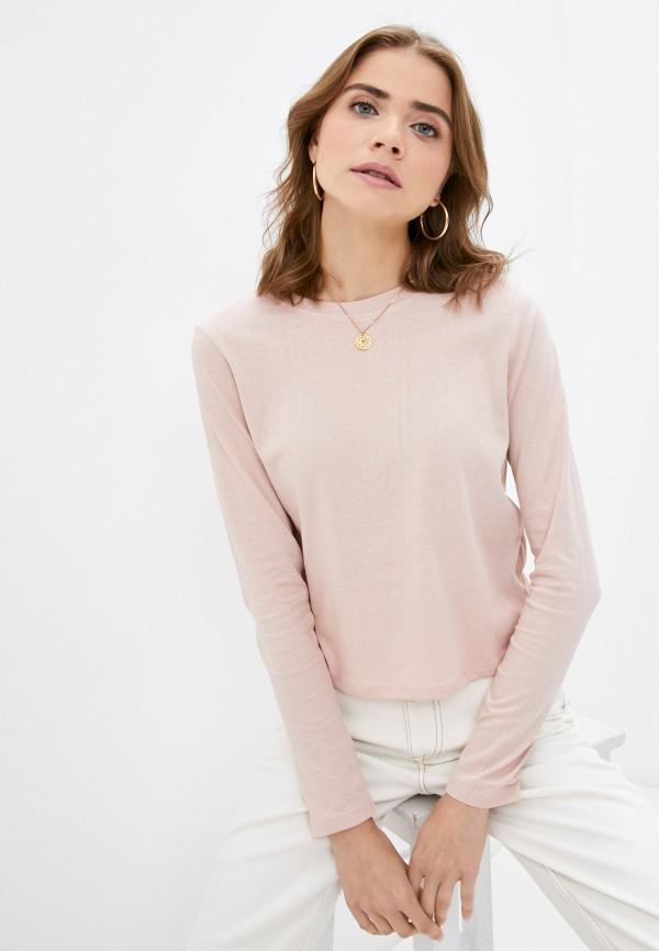 женский лонгслив brave soul, розовый