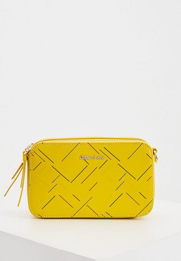 женская сумка через плечо cerruti 1881, желтая
