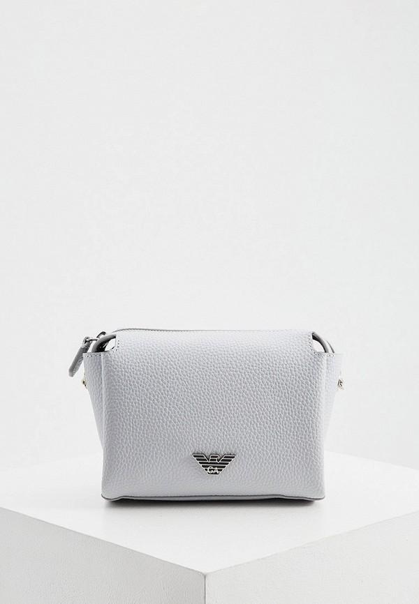 женская сумка через плечо emporio armani, серая