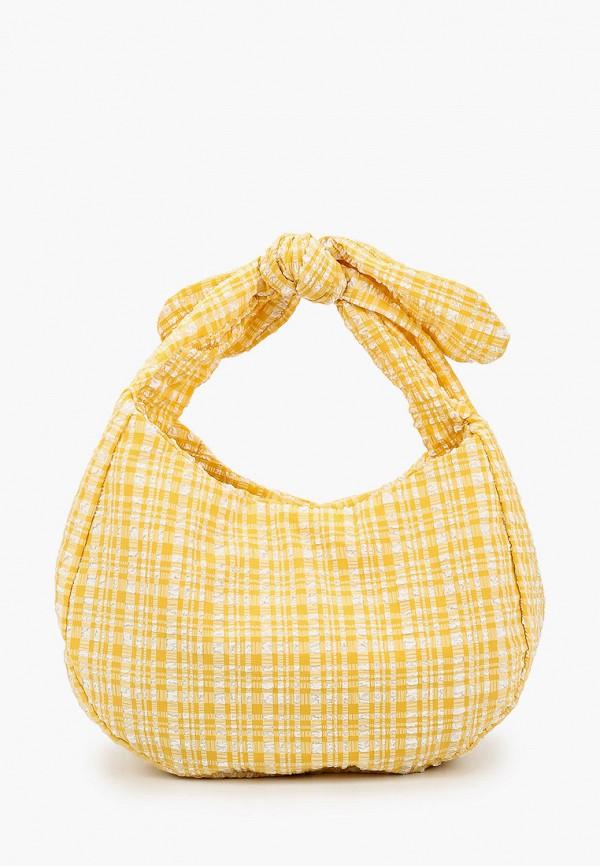 женская сумка с ручками mango, желтая