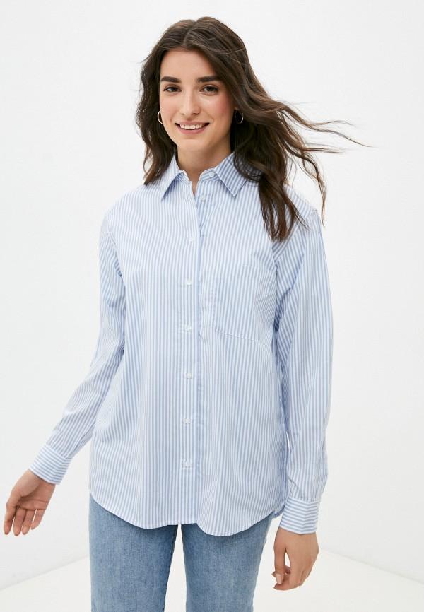 женская рубашка с длинным рукавом guess, голубая