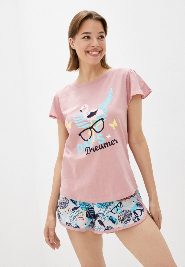 женская пижама rene santi, розовая