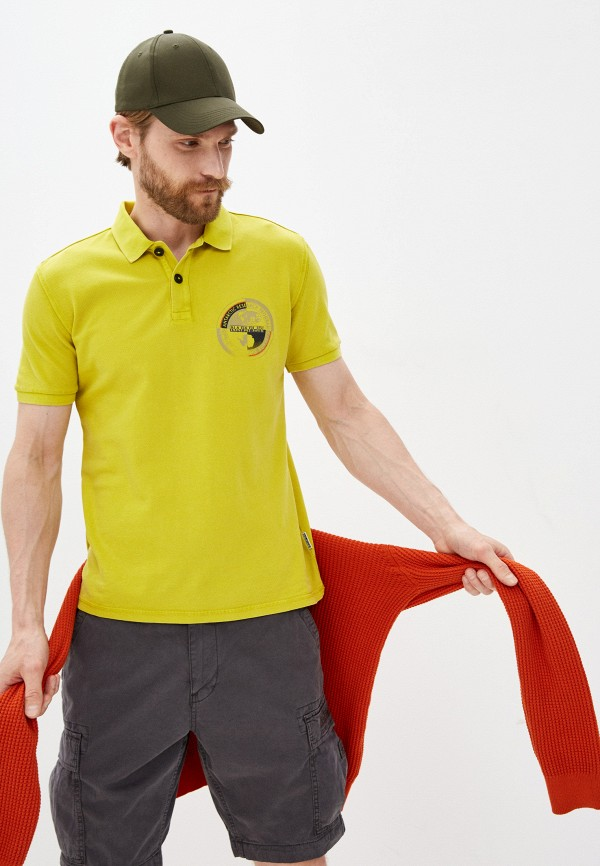мужское поло с коротким рукавом napapijri, желтое