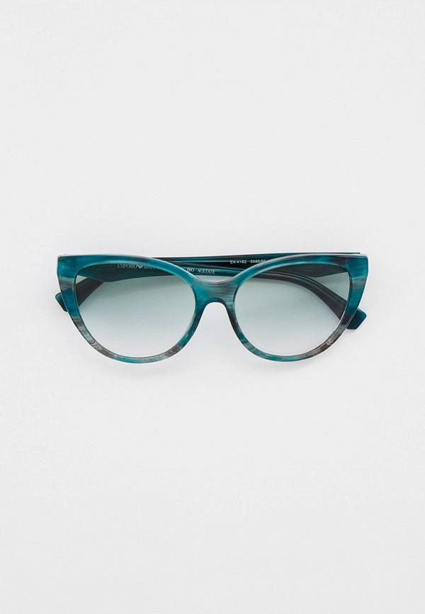 женские солнцезащитные очки кошачьи глаза emporio armani, бирюзовые