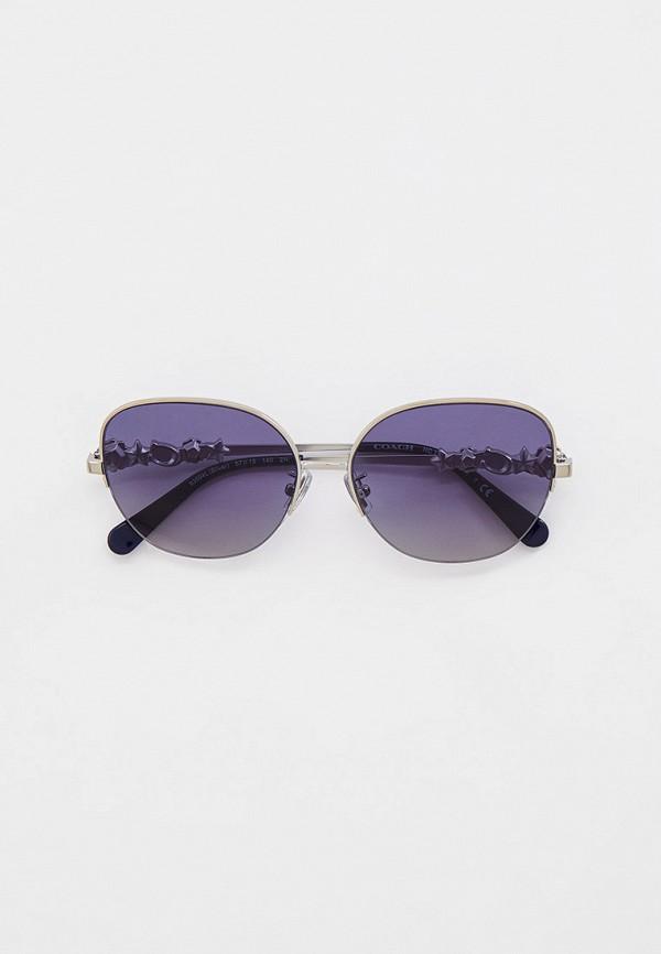 женские круглые солнцезащитные очки coach, серебряные