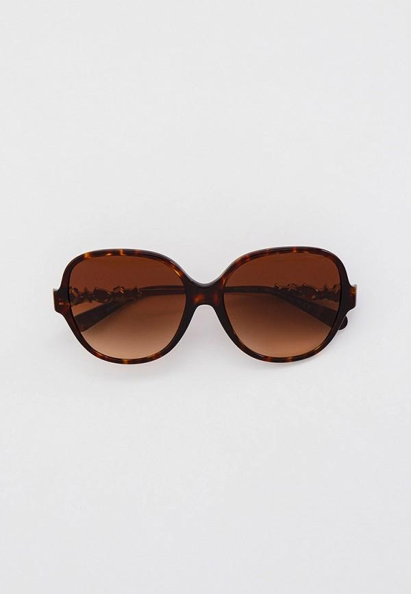 женские круглые солнцезащитные очки coach, коричневые