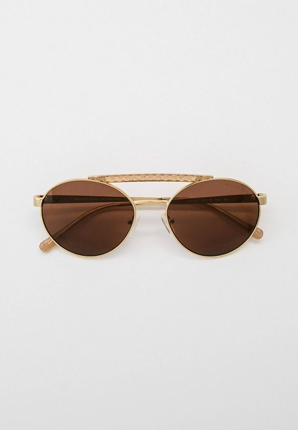 женские круглые солнцезащитные очки michael kors, золотые