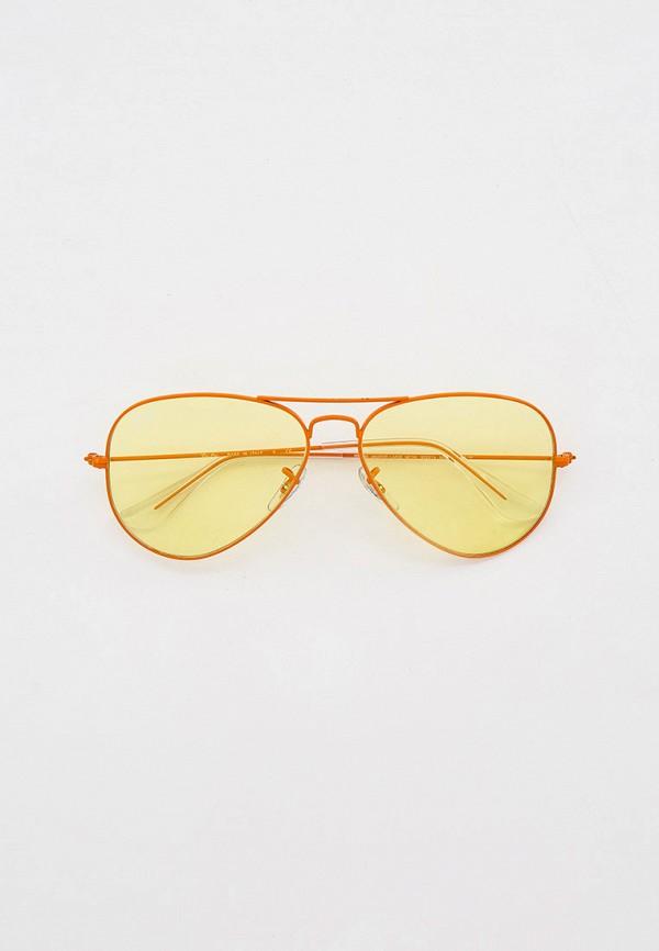 женские авиаторы солнцезащитные очки ray ban, оранжевые