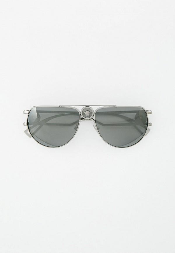 женские авиаторы солнцезащитные очки versace, серебряные