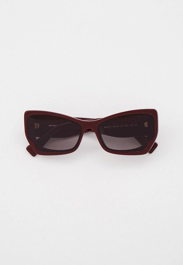 женские солнцезащитные очки miu miu, бордовые