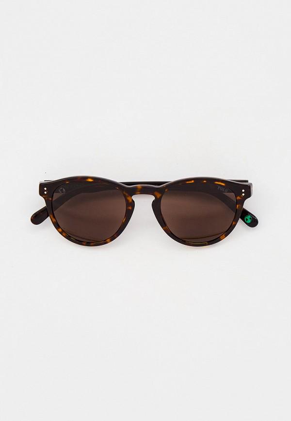 мужские круглые солнцезащитные очки polo ralph lauren, коричневые