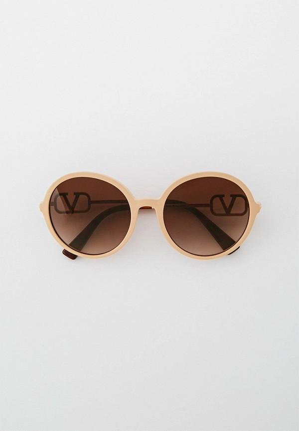 женские круглые солнцезащитные очки valentino, бежевые